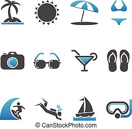 Beach Icons - Set of 12 Beach and Summer vector icons. Each...