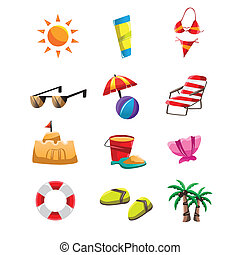 Beach icons - A vector illustration of beach icon sets