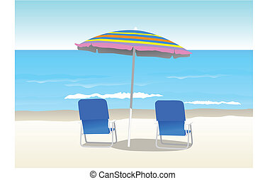 Beach - Illustration of a canopy and two chairs at the beach