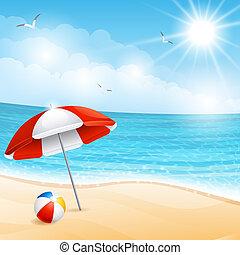 Beach - Vector illustration - beach summer scene