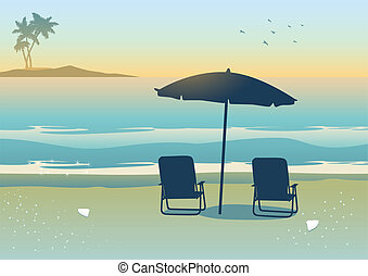 Beach - Illustration of relaxing canopy near the beach