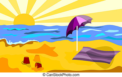 Beach in a sunny day - Coastal view on a sunny day and an...