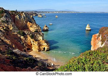 Beach in Algarve, Portugal - High view of Camilo Beach in ...