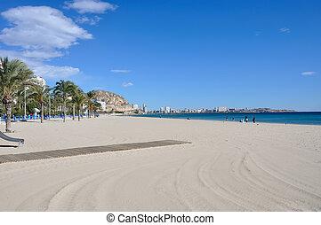 Beach in Alicante, Spain in winter. November