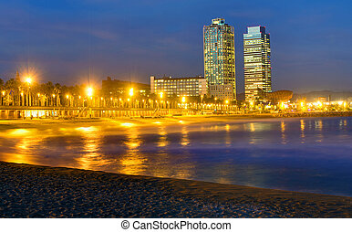 Beach in Barcelona at night