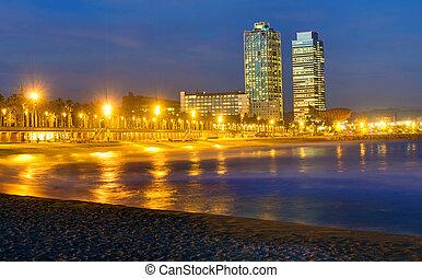 Beach in Barcelona at night