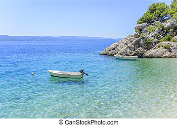 Magnificent beach in Brela on Makarska Riviera. Croatia.