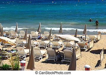 Beach in Cannes - Sandy beach along Croisette promenade in...