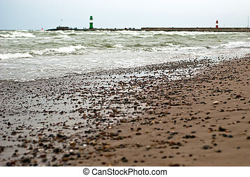 Beach in front of lighthouses
