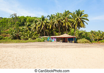 Beach in Goa, India - Beach shack on Keri or Kerim or Querim...