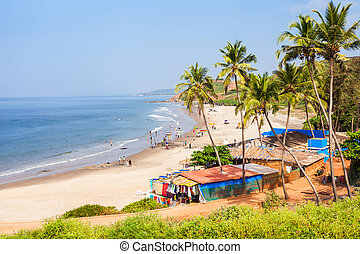 Beach in Goa, India - Vagator or Ozran beach aerial...