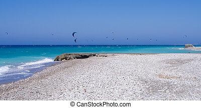 Beach in Kremasti, Rhodes island, Greece