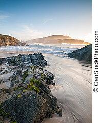 Beach in Meiras, Galicia, Spain.