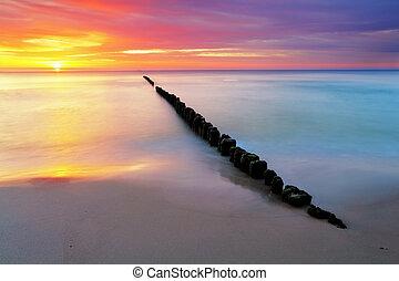 Beach in Poland - Baltic sea at sunrise