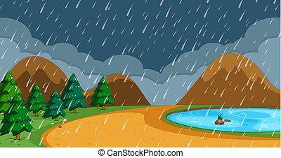 Beach in rainy season illustration