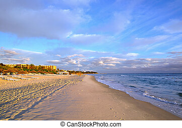 Beach in Sousse, Tunisia - Deserted beach in the early...