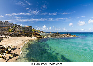 Beach in St. Ives with blue sky, Cornwall, England