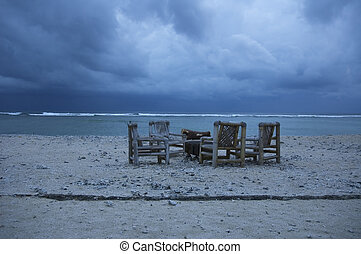 beach in stormy weather
