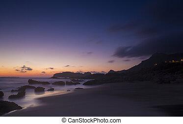 Beach in sunset time. Falasarna, Crete.