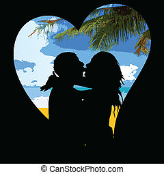 beach in the heart with couple