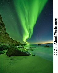 Beach in the Lofoten islands in Norway with northern lights
