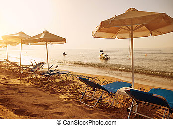 Beach in the resort in the summer.