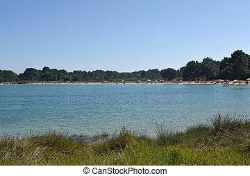 Beach in the ria of Arosa, natural park of O Carreiron, Xastelas, Pontevedra, Galicai, Spain