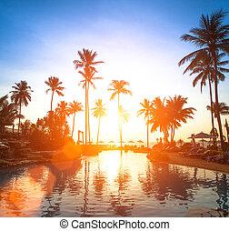 Beach in the tropics at beautiful sunset.