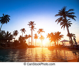 Beach in the tropics at beautiful sunset.