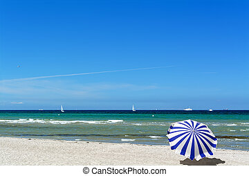 Baltic sea, view from the beach in Warnemuende, Germany.