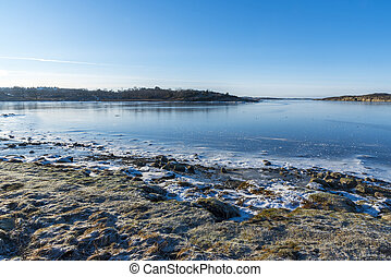 Beach in winter in Sweden