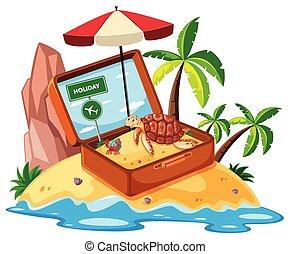 Beach item on island