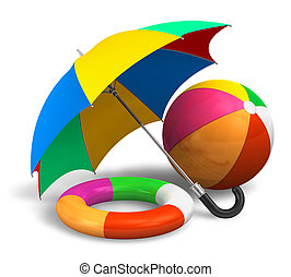 Beach items: color umbrella, ball and lifesaver isolated on white background