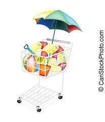 A Shopping Cart Full with Various Beach Items, Beach Ball, Inner Tube, Umbrella, Deck Chair, Beach Bucket and Spade .