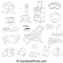beach items. set of travel and diving objects. outline version. drawing by hand  vector illustration