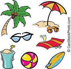 Beach Items - Various cartoon beach aquatic tropical items