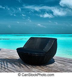 Beach jetty at Maldives - Tropical beach jetty at Maldives