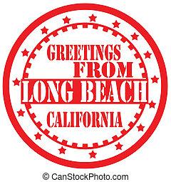 beach-label, begroetenen, lang