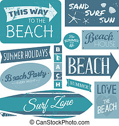 Beach Labels Collection - A set of vintage beach design...
