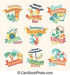 Beach Labels Flat Set