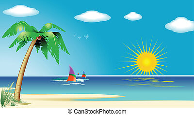 Beautiful beach landscape, computer generated, vector file.