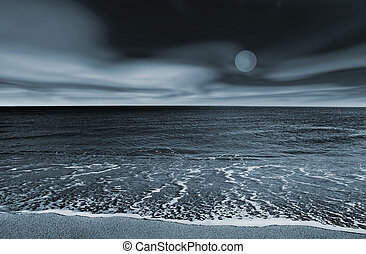 Beach landscape - Picture of a beach at night (blue toned)