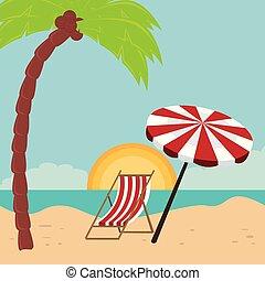 beach landscape with chair and umbrella scene