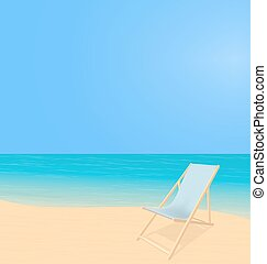 Beach landscape with deck chair - Sunny beach landscape....