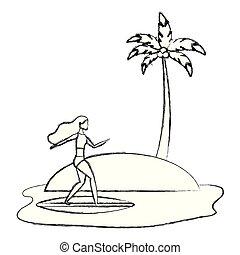 beach landscape with woman in surfboard