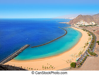 Beach Las Teresitas in Santa cruz de Tenerife north at...
