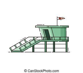 Beach Life Guard House Vector Illustration