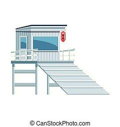 beach lifeguard tower icon, flat design - beach lifeguard ...