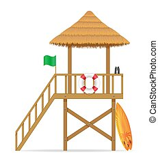 beach lifeguard tower to save drowning people vector ...