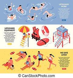 Beach Lifeguards Horizontal Banners